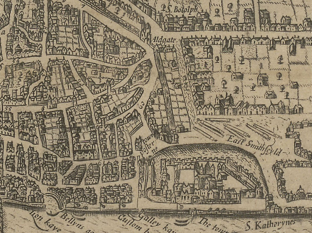 Norden's 1653 engraving of London, depicting the Postern Gate by the Tower. 'London. A guide for cuntrey men in the famous cittey of London by the helpe of wich plot they shall be able to know how far it is to any street. As allso to go unto the same without forder troble. Anno 1653.'