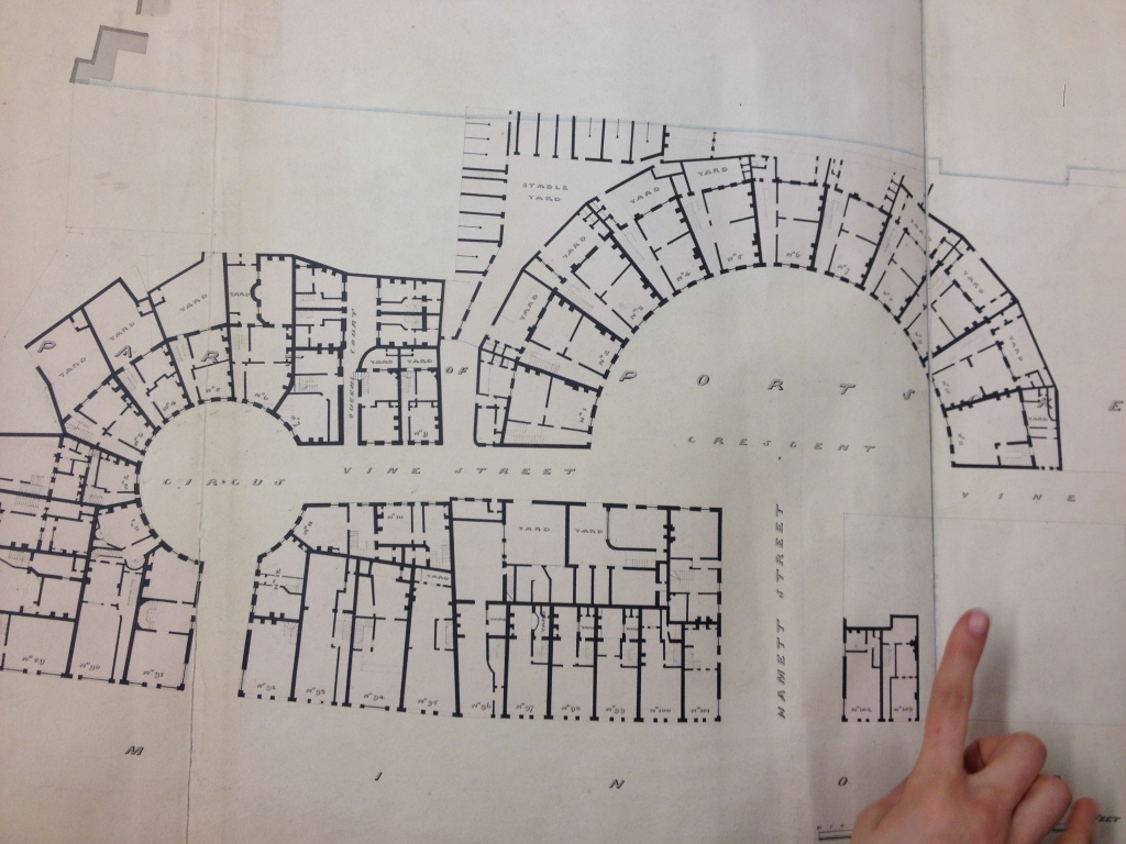 1841 Plan of the Crescent, Circus and America Sq, showing Vine Street, and Hammet Street. Reproduced with the permissions of the London Metropolitan Archive.