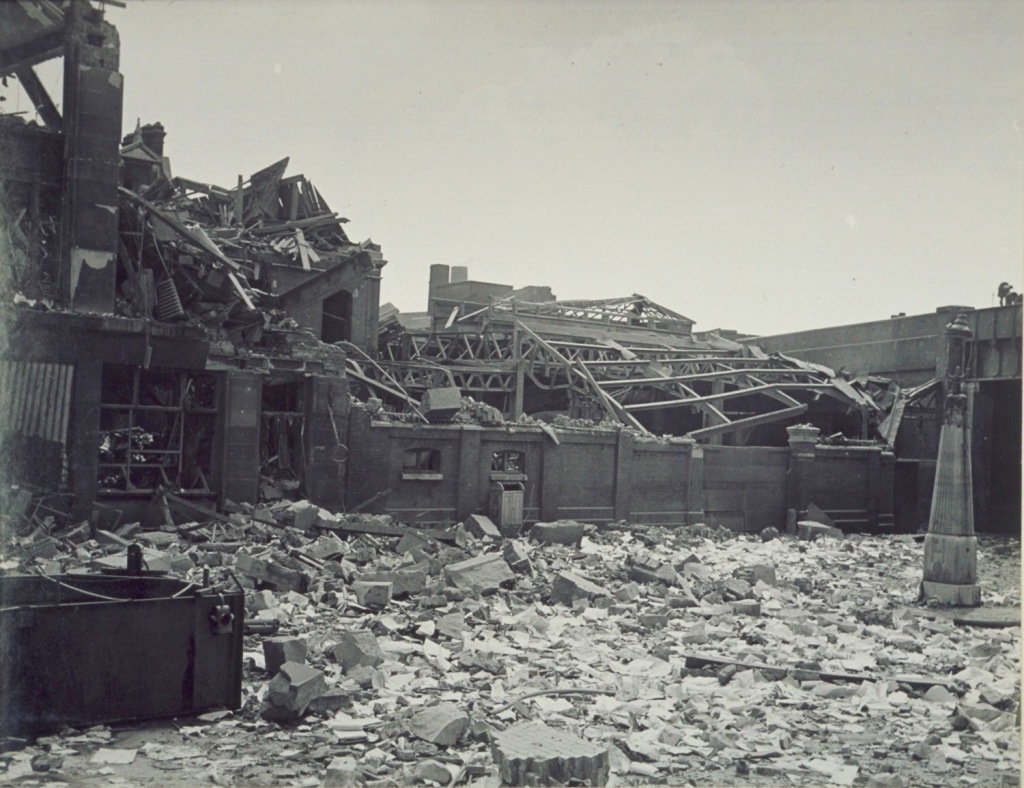Bomb damage of America Square 1941.