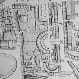 A plan view of The Crescent estate from a Horwood's Map of 1799