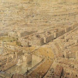 The Circus, Crescent, and America Square as depicted by the Rhinebeck Panorama view of London,  1806-7.