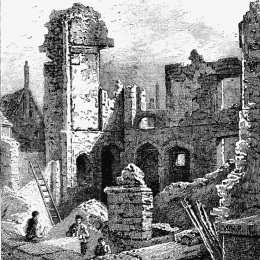 The ruins of the Abbey of St. Clare, Minories. A view by T. J. Smith published in 1797.