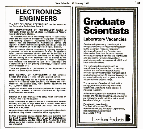 Advertisement for electronics engineers in New Scientist 1980 'The person appointed will be required to assist in the maintenance of a marine radar simulator, live radars and other electronic navigational aids....'
