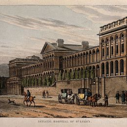 St Luke's Hospital, Cripplegate, London: the facade from the east. Coloured aquatint after T. H. Shepherd, 1815.