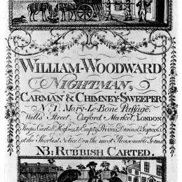Trade card for William Woodward, 18th Century Nightman.