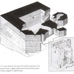 Cut-away illustration of the remains of the southern (excavated) part of the Postern gate and (inset) a suggested reconstruction, by Terry Ball, showing a possible Eagle-leaf gate arrangement. Copyright English Heritage.