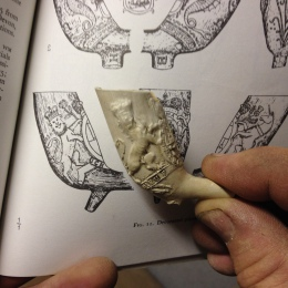 18th Century Clay Pipe with Hanoverian arms, showing the left side.
