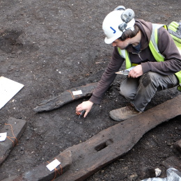 Archaeologist John Quarrell carrying out timber recording.