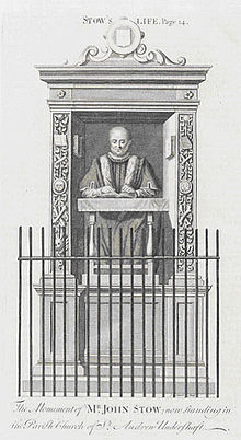 Engraving of John Stow's memorial in St Andrew Undershaft church.