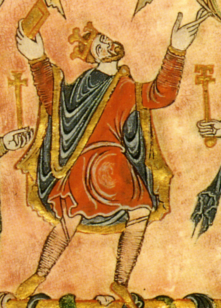 Detail of miniature from the New Minster Charter, 966, showing King Edgar.