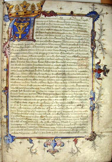 Opening page of the Holy Trinity Aldgate Cartulary.