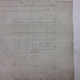 Dance's original designs for the building (reproduced with the permissions of the LMA): 'The strings coping and cornice at A B C D E F  to be of portland stone. The whole are to be wrought with the best grey stocks.'