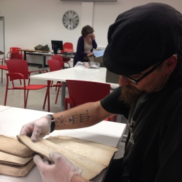 Archaeologist Ben Saunders researching the Crescent and Thomas Wooldridge at the London Metropolitan Archive.