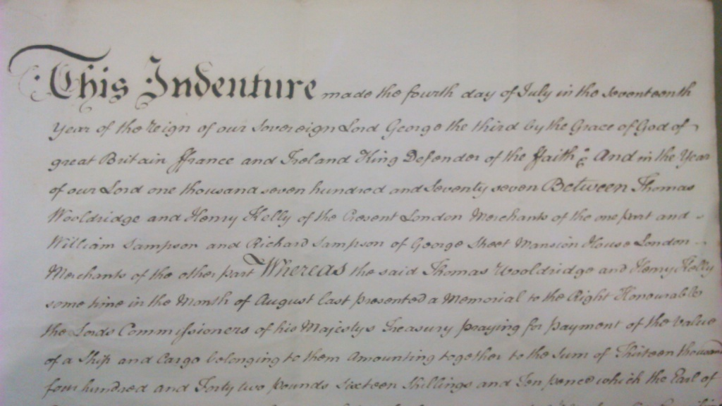 The indenture submitted to HM Treasury as evidence of the bankruptcy of Wooldridge and Kelly, containing demands to pay compensation for a commandeered ship in 1781. (National Archives T1/531/40-45)